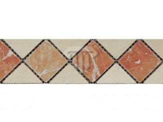Wide Creme/Red Marble Border (Tumbled)
