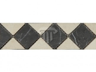 Wide Creme/Black Marble Border (Tumbled)