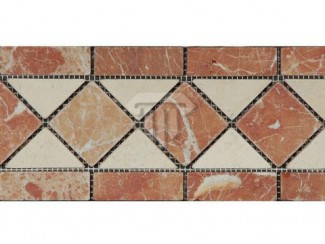 Wider Creme/Red Marble Border (Tumbled)