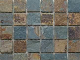 Multicolour/Rust Slate Mosaic (Riven)