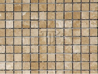 Dark Brown Travertine Mosaic (Tumbled)